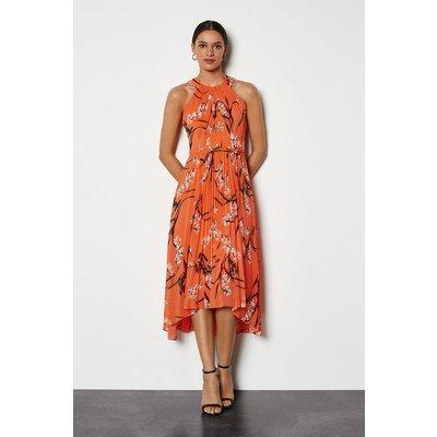 Trailing Oriental Print Dress Coral, Pink