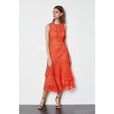 Karen Millen Ruffle Lace Dress, Pink