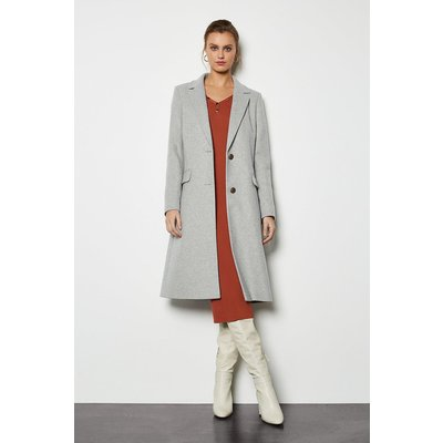 Tailored Wool Blend Coat Pale Grey, Pale Grey