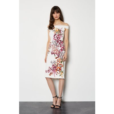 Placed Orchid On Signature Stretch Dress White, White