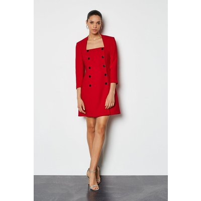 Military Square Neck Dress Red, Red