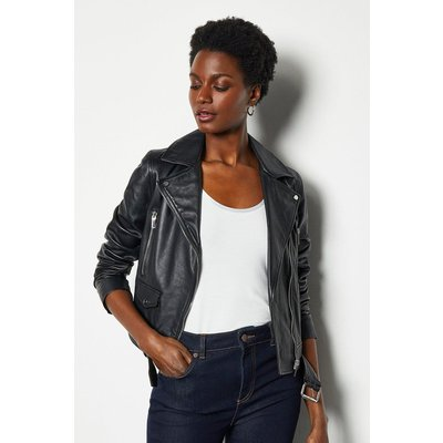 Belted Leather Biker Jacket Black, Black