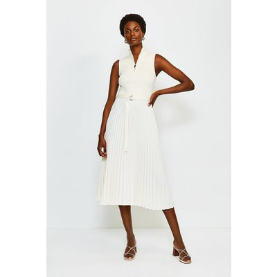 Karen Millen Zip roll/polo neck Pleated Skirt Dress, Cream