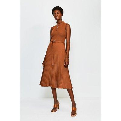 Karen Millen Zip roll/polo neck Pleated Skirt Dress, Orange