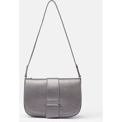 Metal Bar Detail Shoulder Bag Pewter, Grey