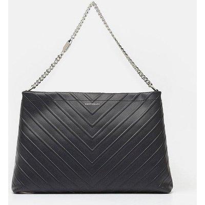 Karen Millen Chevron Shoulder Bag, Black