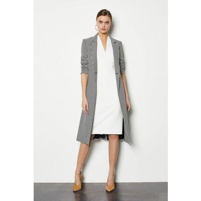 Karen Millen Black and White Check Tailored Coat, Blackwhite