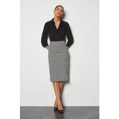 Check Tailored Pencil Skirt Blackwhite, Blackwhite