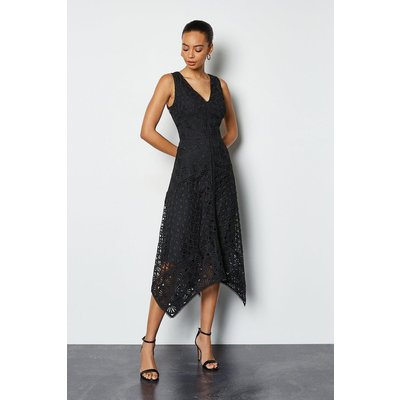 Karen Millen Panelled Lace Dress, Black