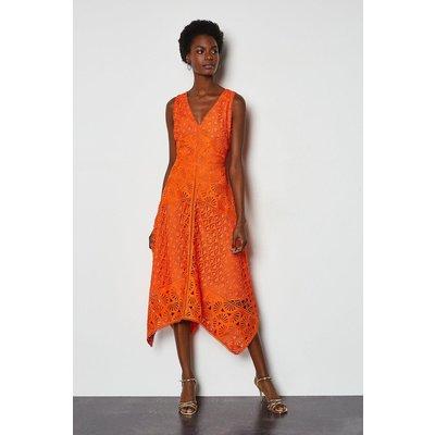Karen Millen Panelled Lace Dress, Orange