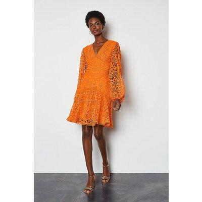 Karen Millen Cutwork Lace Long Sleeve Dress, Orange