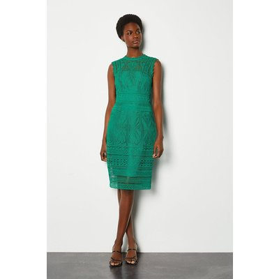 Karen Millen Cutwork Lace Shift Dress, Green