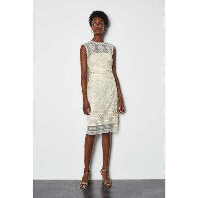 Karen Millen Cutwork Lace Shift Dress, Ivory