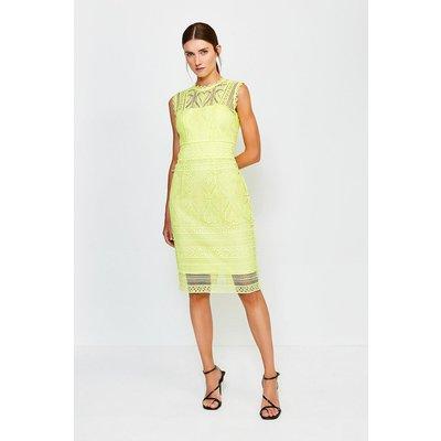 Karen Millen Cutwork Lace Shift Dress, Green