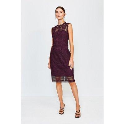 Karen Millen Cutwork Lace Shift Dress, Red