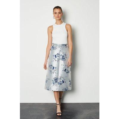 Jacquard Midi Belted Skirt Floral, Floral