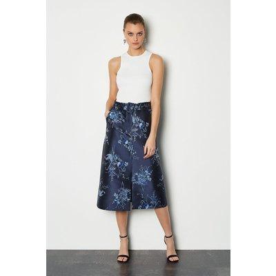 Jacquard Belted Midi Skirt Floral, Floral