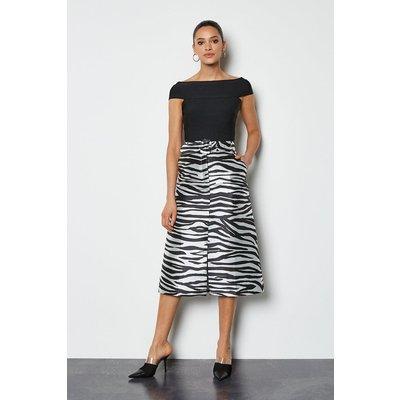 Jacquard Belted Midi Skirt Zebra, Zebra