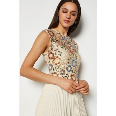 Sequin Lace Maxi Dress Ivory, Ivory