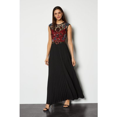 Sequin Lace Maxi Dress Red, Red