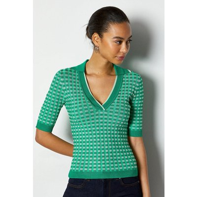 Contrast Check Graphic Short Sleeve Top Green, Green