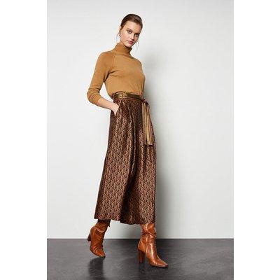 Jacquard Wide Leg Belted Trousers Multi, Multi