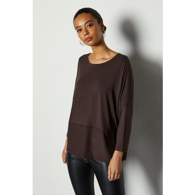 3/4 Sleeve Jersey Woven Mix Top Brown, Brown