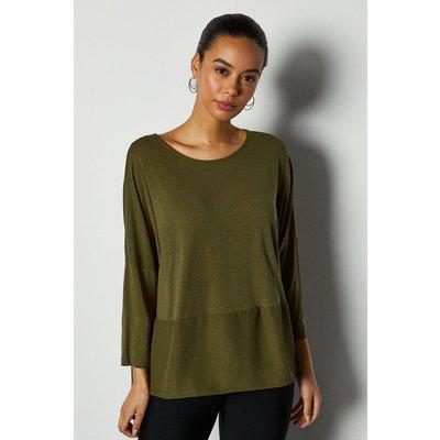 3/4 Sleeve Jersey Woven Mix Top Khaki/Green, Khaki/Green