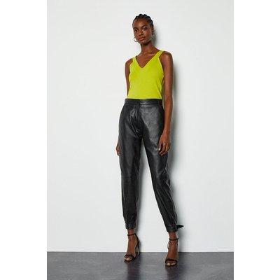 Karen Millen Bow Tie Leather Trousers, Black