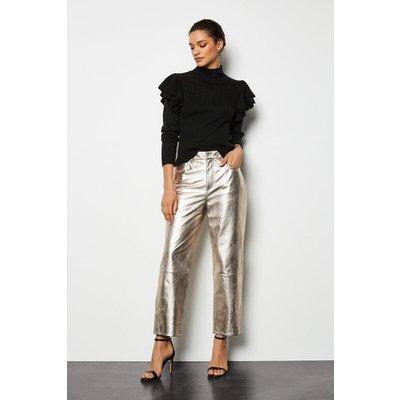 Metallic Leather Straight Leg Crop Trouser Metallic Gold, Metallic Gold