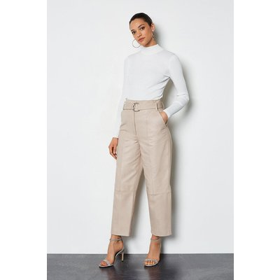 Karen Millen Leather Belted Trouser Taupe, Brown