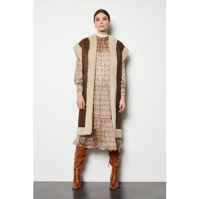 Oversized Sheepskin Reversible Coat Brown, Brown