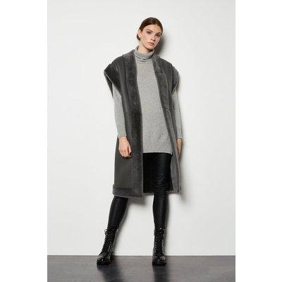 Oversized Sheepskin Reversible Coat Mink, Navy