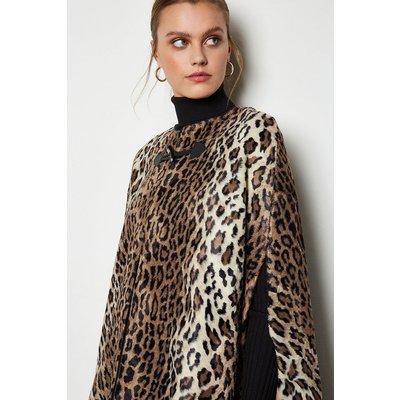 Print Faux-Fur Cape Leopard, Leopard