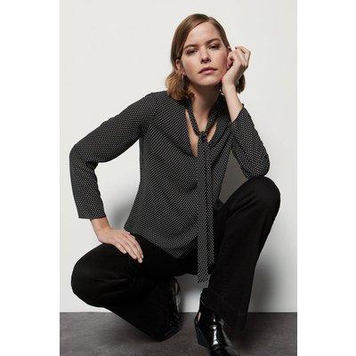 Karen Millen Spot Print Tie Bow Long Sleeve Blouse, Blackwhite