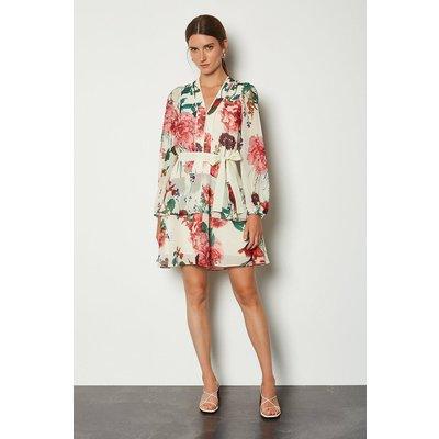 Karen Millen Rose Print Dress, Cream