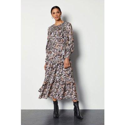 Karen Millen Tiered Midi Dress With Shirring Detail, Leopard