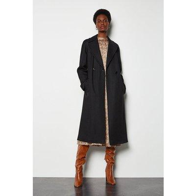 Twill Wrap Coat Black, Black