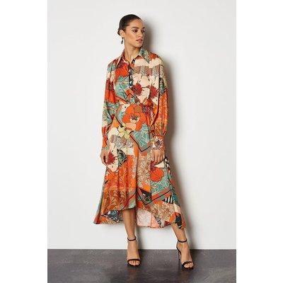 Karen Millen 70's Floral Shirt Dress, Multi