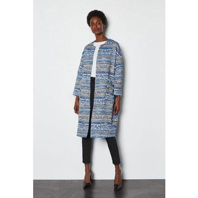 Karen Millen Spring Tweed Coat, Blue