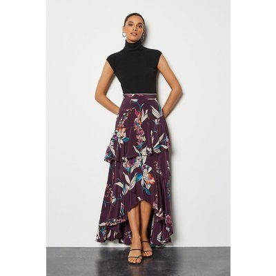 Karen Millen Watercolour Floral Skirt, Red