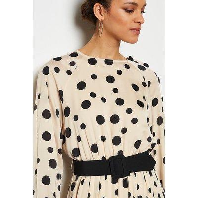 Spot Print Pleated Button Midi Dress Multi, Multi