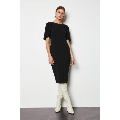 Karen Millen Puff Sleeve V-Back Dress, Black