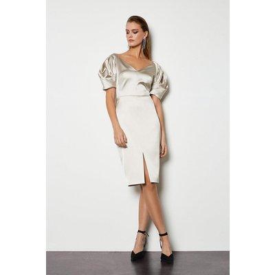 Karen Millen Puff Sculptural Sleeve Dress, Champagne
