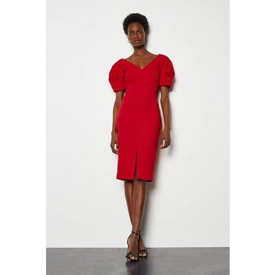 Puff Sleeve V Back Dress Red, Red