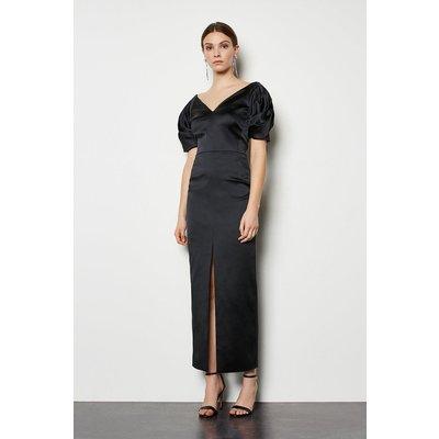 Puff Sleeve V Back Maxi Dress Black, Black