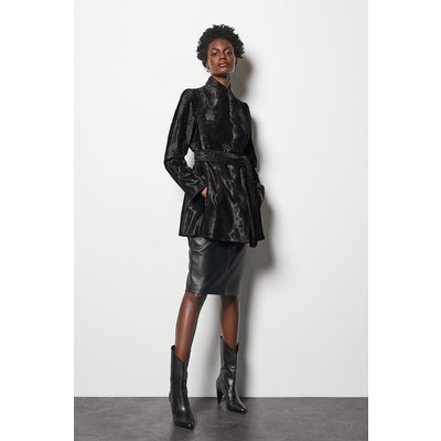 Karen Millen Short Pony Print Faux Fur Coat, Multi