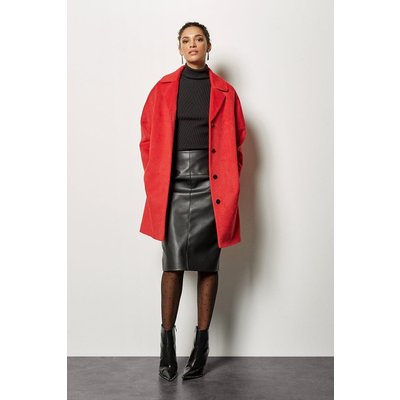 Wool Blend Coat Red, Red