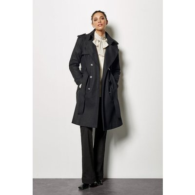 Belted Classic Coat Black, Black