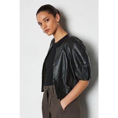 Leather Puff Sleeve Jacket Black, Black